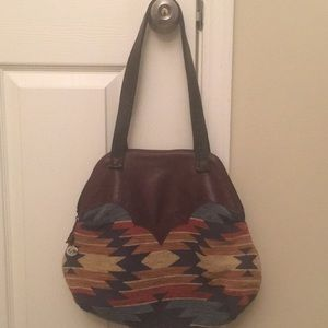 Canvas and leather Aztec print tote style purse